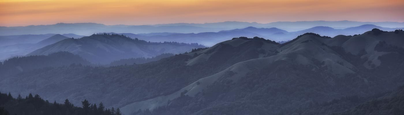 Marin County hills at Sunset